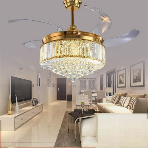 2019 52 Inch Gold Modern LED Crystal Ceiling Fans With
