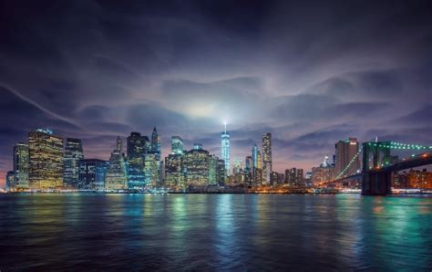New York Night Lights And Clouds wallpapers