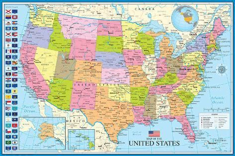 Map Of The United States With State Flags - Affischer på