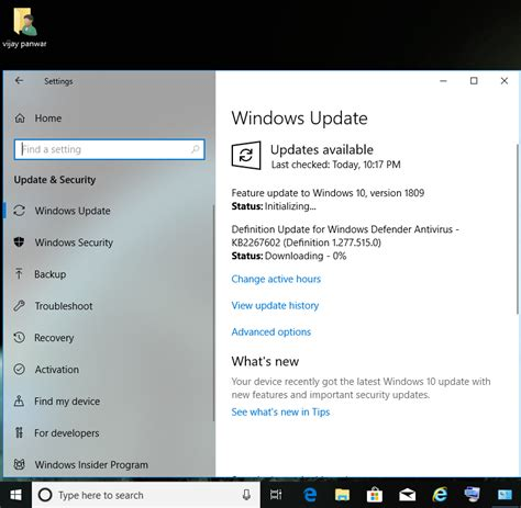 Feature update to windows 10 , version 1809 is available
