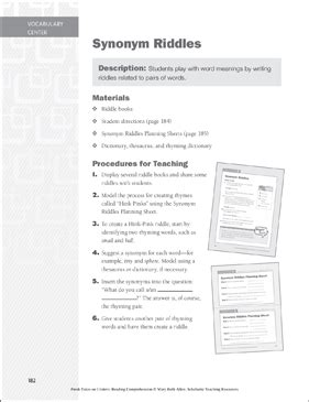 Synonym Riddles: Vocabulary Learning Center | Printable