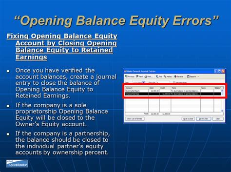 Same Old Problems - Opening Balance Equity