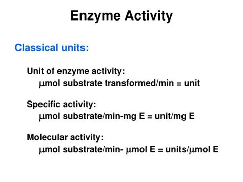 PPT - Calculations of Enzyme Activity PowerPoint